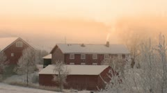 Farm in freezing surroundings during the norwegian winter. Stock Footage