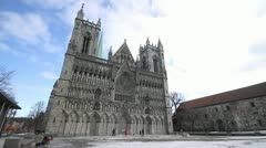 Nidaros cathedral wide shot Stock Footage