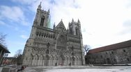 Stock Video Footage of Nidaros cathedral wide shot