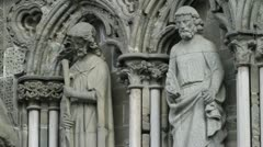 Statues on exterior wall of the Nidaros cathedral Stock Footage