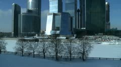 Moscow city business center in winter exterior Stock Footage