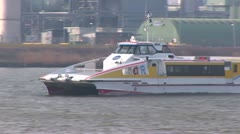 Fast Ferry over the Dutch river Stock Footage