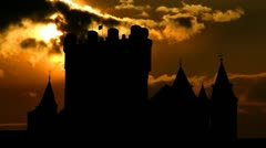 Spain Alcazar of Segovia west sungliding Stock Footage