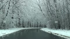 Driving through park in frosty day - stock footage