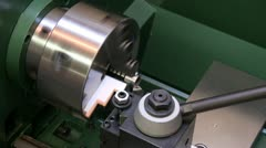 Stock Video Footage of Metal Lathe - close up view