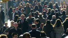 Crowd Walking people side walk street NY City 25p backlight PAL - stock footage