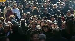 Crowd Walking people side walk street NY City 24p backlight - stock footage