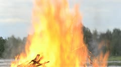 Big camp fire close up Stock Footage