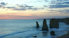 Twelve Apostles, time-lapse, after sunset - stock footage