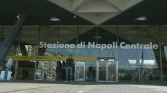 Napoli train station entrance (2 clips) Stock Footage