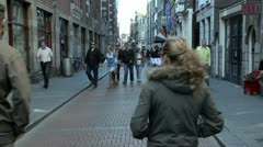 Street in Amsterdam Old City Stock Footage