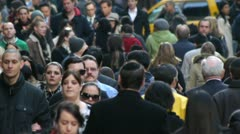 Crowd Walking people side walk street NY City 24p Stock Footage