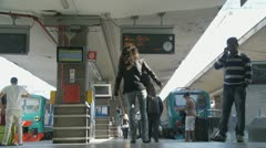 Naples train platform - attractive woman & police Stock Footage