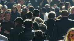 Stock Video Footage of Crowd Walking City street NY side walk back light slow motion commuters
