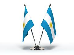 miniature flag of argentina (isolated) - stock photo