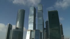 view on moscow cityscape of business center in winter russia - stock footage