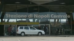 Entrance of Naples train station (taxi) Stock Footage