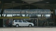 Stock Video Footage of Entrance of Naples train station (taxi)