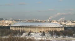Pan on moscow winter city scape with arena Stock Footage