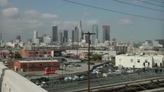 Downtown LA from 6th St Bridge Stock Footage