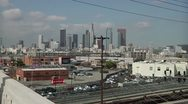 Stock Video Footage of Downtown LA from 6th St Bridge
