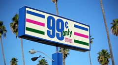 Stock Video Footage of 99 Cent Store Sign 01 HD