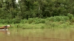Boat  On Amazon River Stock Footage