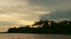 Paddeling On Amazon River In Sunset Stock Footage