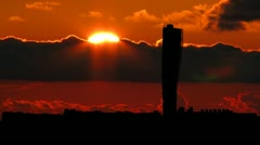 Sweden The Turning Torso sunset Stock Footage