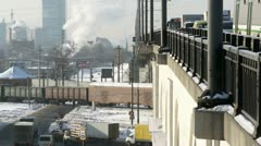 Winter city with bridge - hard traffic and cargo train Stock Footage