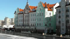 Kaliningrad. Buildings on the waterfront of the river Pregolya Stock Footage