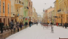 The people on the big city walking only street in winter - stock footage