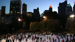 310 people ice skating in NYC Stock Footage