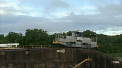 Mules at the Gatun Lock in Panama Canal Stock Footage