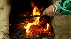 mixing of coal in the furnace - stock footage