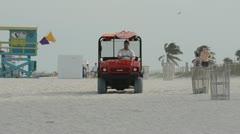 Cleanup crews patrol Miami Beach, Florida Stock Footage
