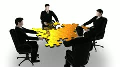 3d business building a puzzle - stock footage