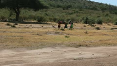 Stock Video Footage of Masai Women Carrying Water