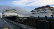 Stock Video Footage of A cruise ship moves in the Panama Canal Time-lapse HD