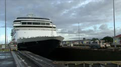A cruise ship lifting up in the Panama Canal Time-lapse HD Stock Footage
