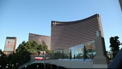 Wynn and Encore resort casino on the Las Vegas strip Stock Footage