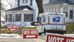 'Vote Here' with US Postal Truck Stock Footage