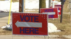 'Vote Here' Signs Stock Footage