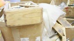 Wood Peg Table Tracking - stock footage