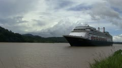 A cruise ship passing through the Gatun Lake Time-lapse HD 1080 Stock Footage