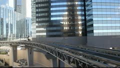 Monorail train depart  from Monorail station in Las Vegas - stock footage