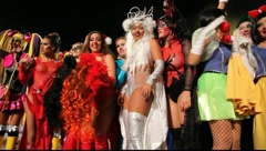 Dancing and performing in the Adult Costume Competition of the Carnival Stock Footage