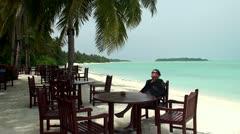Man on vacation (Maldives) Stock Footage