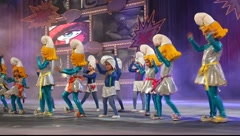 Children and teens dance during the Gran Gala of the Carnival Stock Footage