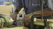 Wood Being Drilled Front Stock Footage